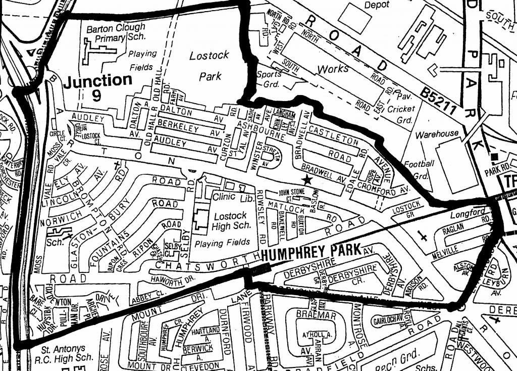 The boundary of Lostock in Stretford
